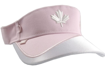 Canadian Canada White Maple Leaf 3D Puff Embroidery on a Pink and White Adjustable Visor Cap Elegant Fashion Sun Hat