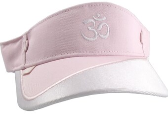 OM Spiritual Symbol Embroidery on a Pink and White Adjustable Visor Cap Elegant Fashion Sun Hat
