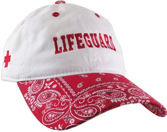 Lifeguard 2 Locations Embroidery on a Red and White Bandanna Adjustable Unstructured Baseball Cap Dad Hat with Options to Personalize