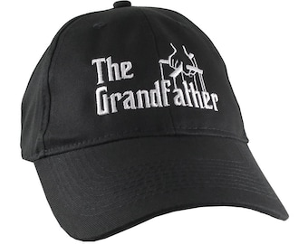 The Grandfather Godfather Style Parody White Embroidery on an Adjustable Soft Structured Black Baseball Cap