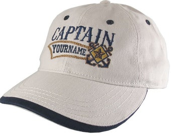 Nautical Star Crossed Anchors Boat Captain and Crew Personalized Embroidery Adjustable Beige and Navy Blue Unstructured Ball Cap Options