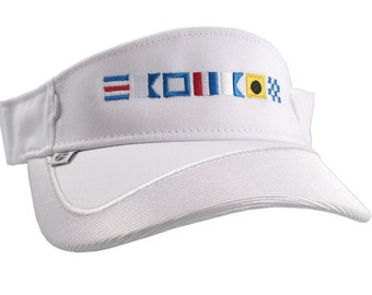Boat Captain Nautical Flags Embroidery on a White Visor Adjustable Elegant Fashion Sun Hat
