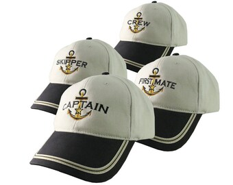 Nautical Star Anchor Captain and Crew Embroidery Adjustable Black and Beige Structured Baseball Cap Options to Personalize Boat Name