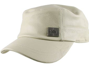 Genuine Stone Beige Leather Low Profile Adjustable Army Cadet Flat Fashion Cap