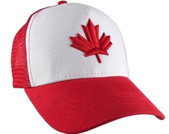 Red Canadian Maple Leaf 3D Puff Raised Embroidery on an Adjustable White and Red Pro Style Trucker Cap Happy Canada Day
