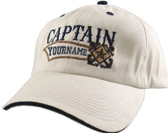 Nautical Star Crossed Anchors Boat Captain and Crew Personalized Embroidery Adjustable Natural Cotton + Navy Unstructured Ball Cap +Options