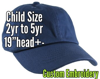 Child Size Custom Personalized Embroidery on a Navy Blue Adjustable Unstructured Dad Hat Style Baseball Caps + Options