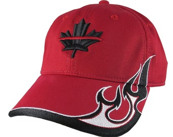 Canadian Maple Leaf 3D Puff Thin Red Line Firefighter Embroidery Adjustable Red Structured Racing Flames Baseball Cap + Options Personalized