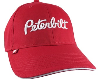 Red Peterbilt Truck 3D Puff Embroidery Design on Adjustable Red Structured Baseball Cap with Options to Personalize This Hat for a Trucker