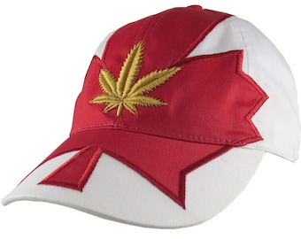 Canadian Golden Cannabis Red Maple leaf Applique an Adjustable Unstructured Classic Fit Baseball Cap Dad Hat Canada + Option to Personalize