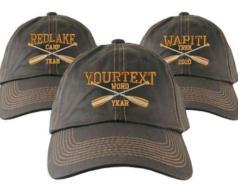Personalized Crossed Paddles Embroidery Your Text on an Adjustable Unstructured Weathered Brown Classic Style Full Fit Cap Great Outdoors
