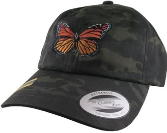 Monarch Butterfly Embroidery on an Adjustable Black Multicam Yupoong Unstructured Classic Baseball Cap Dad Hat Style