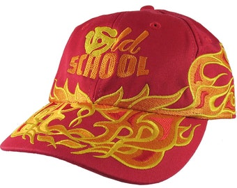 DJ Old School Embroidery on an Adjustable Pinstripe Tribal Racing Flames Soft Structured Fashion Red Baseball Cap with Option to Personalize