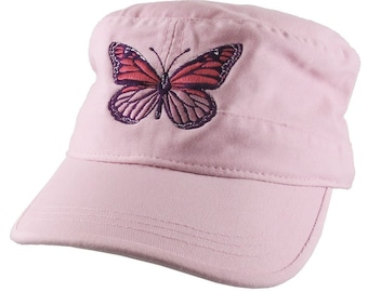 Custom Pink Monarch Butterfly Embroidery on an Adjustable Unstructured Pink Cadet Style Fashion Cap