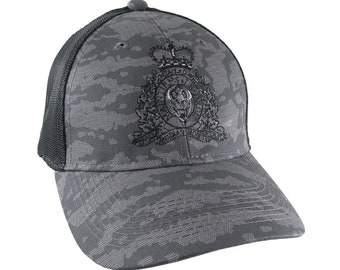 Canadian RCMP GRC Veteran Mounted Police Crest Motto Embroidery Adjustable Urban Camo Structured Trucker Cap with Options to Personalize