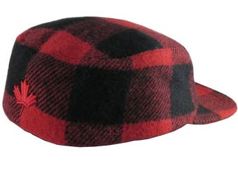 Canadian Red Maple Leaf Canada 3D Puff Embroidery on a Red and Black Buffalo Check Camper Ski Style Winter Fashion Woolen Hat X-Large Size