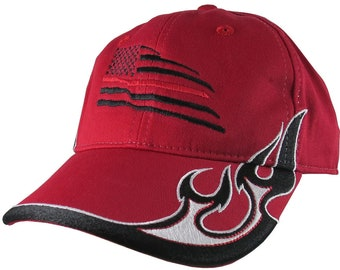 Black US Flag Thin Red Line Firefighter Embroidery on an Adjustable Red Structured Racing Flames Baseball Cap with Options to Personalize