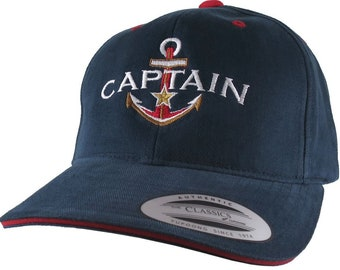 Nautical Golden Star Anchor Boat Captain Embroidery on an Adjustable Navy Blue Red Trim Structured Yupoong Baseball Cap + Options