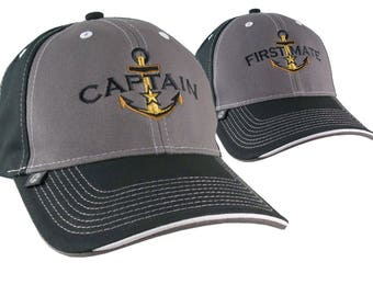 2 Hats Nautical Golden Star Anchor Captain + First Mate Embroidery Adjustable Grey + Black Structured Baseball Caps + Options to Personalize