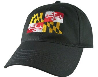 Maryland State Flag Symbol Embroidery Design on an Adjustable Black Unstructured Classic Baseball Cap Dad Hat +Option to Personalize