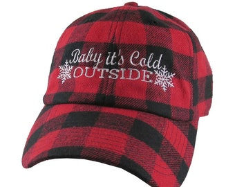 Baby It's Cold Outside Snowflakes Embroidery Red and Black Buffalo Check Plaid Soft Structured Fashion Baseball Cap Dad Hat Style Lumberjack