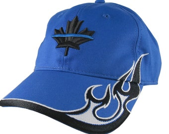 Canadian Maple Leaf 3D Puff Thin Blue Line Embroidery Adjustable Royal Blue Structured Racing Flames Baseball Cap + Options to Personalize