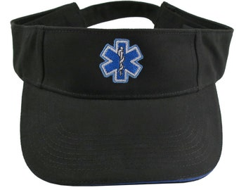 Paramedic Blue Star of Life Caduceus EMT EMS Embroidery on an Adjustable Black Brushed Cotton Visor Summer Hat Trimmed in Blue