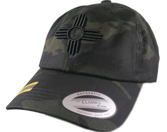New Mexico State Flag Symbol Black 3D Puff Embroidery Design on Adjustable Unstructured Black Multicam Baseball Cap + Option to Personalize