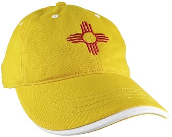 New Mexico State Flag Symbol Red Embroidery Design on an Adjustable Yellow Unstructured Classic Baseball Cap + Option to Personalize