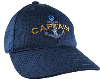 A Boat Captain Nautical Star Anchor Embroidery on an Adjustable Sporty Navy Blue Structured Baseball Cap + Personalization Options