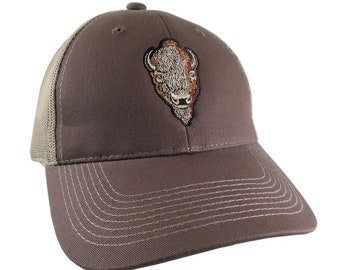 Buffalo Head Embroidery on an Adjustable Brown Structured Trucker Style Snap Back Ball Cap