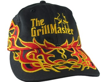 The Grill Master Embroidery on Adjustable Pinstripe Tribal Racing Flames Soft Structured Fashion Black Baseball Cap + Option to Personalize