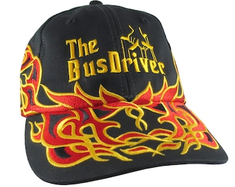 The Bus Driver Embroidery on Adjustable Pinstripe Tribal Racing Flames Soft Structured Fashion Black Baseball Cap + Option to Personalize