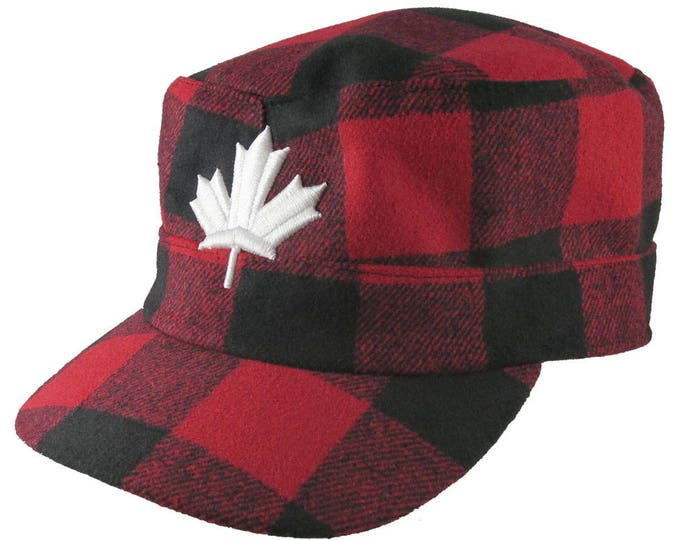 Featured listing image: Canada 3D Puff White Maple Leaf Embroidery on a Red Buffalo Check Plaid Unstructured Fashion Military Cadet Cap Full Fit Lumberjack Style