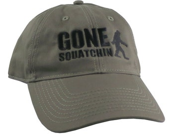 Gone Squatchin Humorous Sasquatch Bigfoot Silhouette Black Embroidery on an Adjustable Khaki Green Unstructured Baseball Cap