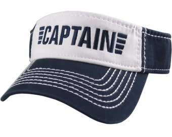 Captain Nautical Stripes Embroidery on an Adjustable Navy Blue and White Cotton Twill Visor Sun Hat
