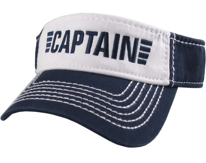 Featured listing image: Captain Nautical Stripes Embroidery on an Adjustable Navy Blue and White Cotton Twill Visor Sun Hat