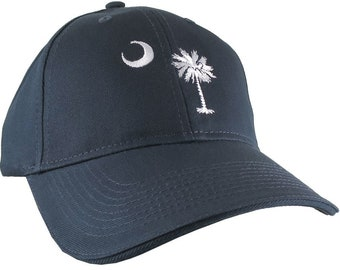 South Carolina State Flag Custom Embroidery Design on an Adjustable Navy Blue Soft Structured Classic Baseball Cap Personalization Options