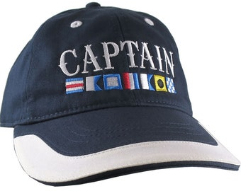 Elegant Nautical Signal Flags Captain Embroidery Adjustable Navy Blue and White Unstructured Baseball Cap with Options to Personalize