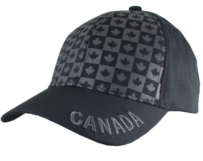 Featured listing image: Canada Canadian Maple Leaf Theme on an Adjustable Black Structured Classic Baseball Cap with Personalization Options