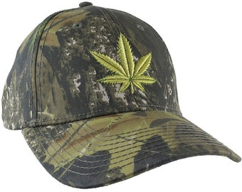 Cannabis Pot Leaf 3D Puff Raised Embroidery on an Adjustable Woodsman Green Camo Baseball Cap with Options to Personalize