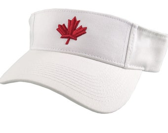 3D Puff Red Maple Leaf Embroidery on an Adjustable White Visor Canadian Canada Summer Hat