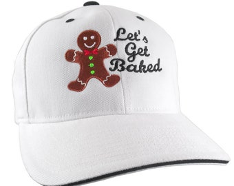 Let's Get Baked Gingerbread Cookie Embroidery on Adjustable White and Black Soft Structured Yupoong Baseball Cap with Options to Personalize