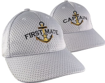 Captain First Mate Nautical Couple Embroidery on Adjustable Fashion Stylish Structured Silver Full Fit Baseball Caps +Options to Personalize