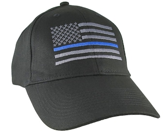 An American Thin Blue Line US Flag Embroidery on an Adjustable Black Structured Adjustable Baseball Cap with Option to Personalize the Back