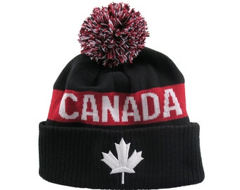 Canadian White Maple Leaf 3D Puff Embroidery on a Canada Pom Pom Red and Black Cuff Toque Jacquard Knit