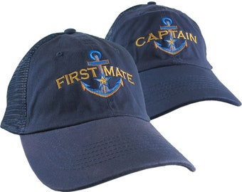 Nautical Star Golden Anchor Captain + First Mate Duo Embroidery on 2 Adjustable Navy Blue Unstructured Casual Trucker Style Mesh Caps