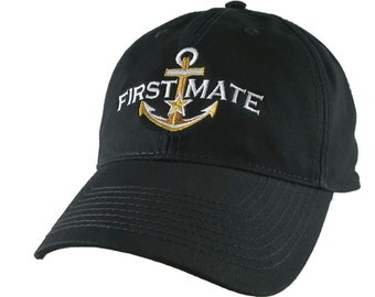 Nautical Star Golden Anchor First Mate Embroidery on an Adjustable Black Unstructured Ball Cap + Options for Personalize Hat