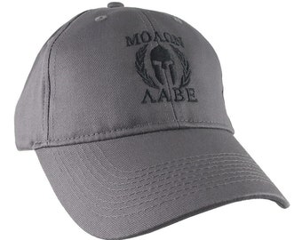 Molon Labe Spartan Warrior Mask in Laurels Black Embroidery on an Adjustable Charcoal Structured Baseball Cap
