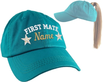 Your Name First Mate Nautical Stars Embroidery on an Adjustable Aqua Blue Turquoise Unstructured Open Ponytail Women Fashion Baseball Cap